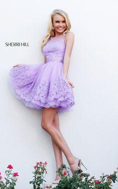 Lilac A Line Sherri Hill 11091 Lace Prom Dress