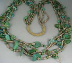 Early Important Pueblo 4 Strand Turquoise Tab/Shell Necklace