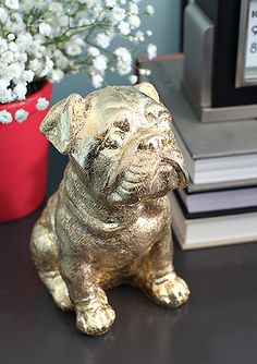 Since I will never be able to get a real dog......DIY a Gold Leaf Bulldog!  My office mascot.