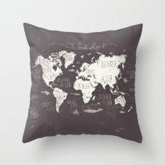 The World Map Throw Pillow