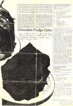 Chocolate Fudge Cake Family Circle Recipe) - Redhead Can Decorate Retro Recipes, Vintage Recipes, Cupcake Frosting, Cupcake Cakes, Cupcakes, Family Circle Recipes, Sweet Recipes, Cake Recipes, Frosting Recipes