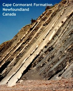 This is a great photo of the Cape Cormorant formation in Newfoundland. Alternating layers of sandstone and shale. Click here to read our blog posts where we talk about fun geological places, geology topics and experiments, and answer your questions! http://www.minimegeology.com/blog/