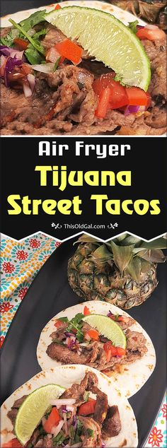 My Air Fryer Tijuana Street Tacos recipe replicates the Tacos sold on the Streets of Mexico. Seasoned Meat is cooked quickly underneath Fresh Pineapple slices. via @thisoldgalcooks