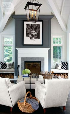 gray fireplace accent