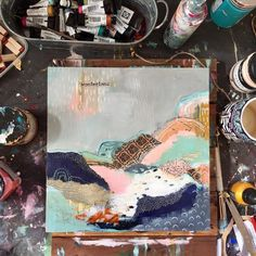 Art And Illustration, Mixed Media Painting, Mixed Media Art, Mix Media, Collages, Collage Art, Painting Inspiration, Art Inspo, Abstract Landscape