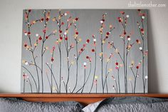 So Easy great weekend projects-thinking only white dots (pussy willows) for a winter print, hmmmm.: So Easy great weekend projects-thinking only white dots (pussy willows) for a winter print, hmmmm. Diy Canvas Art, Diy Wall Art, Kids Canvas, Painted Canvas Diy, Simple Canvas Art, Diy Artwork, Canvas Crafts, Button Art, Button Crafts