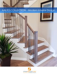 The Aalto Collection is a compliment to the modern design aesthetic. Compliment any space with the clean lines and open detail found only with Aalto. These balusters and panels are a high end low cost alternative to fully fabricated systems. Available in both Satin Black and Ash Grey powder coating the Aalto Collection is the perfect selection for your modern dwelling.  See all Aalto balusters on our site: https://cheapstairparts.com/products/iron-balusters/aalto-modern/  #StairRemodel