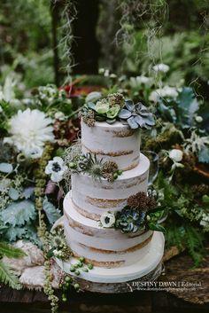 Naked Cake, Woodlands Cake, White Wedding Cakes, #grownfromearthy editorial featured in @utterlyengaged  Magazine Volume 3, Destiny Dawn Photography, by the amazing Sweet Celebrations Wedding Cakes