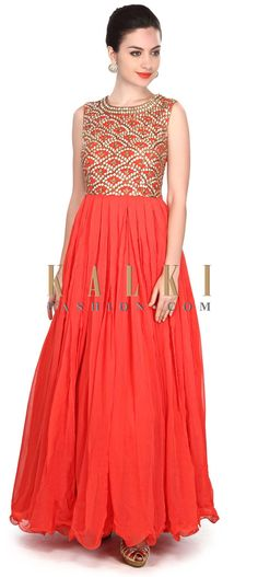 Buy Online from the link below. We ship worldwide (Free Shipping over US$100) Price- $389 Click Anywhere to Tag http://www.kalkifashion.com/dark-peach-dress-embellished-in-gotta-patch-and-zardosi-only-on-kalki.html