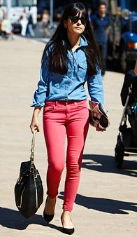 Denim shirt with colored jeans