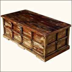 Rustic Steamer Style Appalachian Storage Coffee Table Chest Furniture