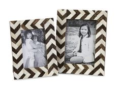 IMAX Zig Zag Bone Inlay Frames - Set of 2 A set of two photo frames made with bone Inlay make the perfect desk, shelf or vanity accessory. White bone Inlay with brown chevron pattern gives these frames a simple decorative appeal. For a coordinated look, display with the Zig Zag bone Inlay boxes.   Material: 64% MDF, 19% Glass, 16% Bone