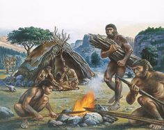Science Source - Homo Erectus Using Fire Prehistoric World, Prehistoric Animals, Historical Art, Historical Pictures, Ancient Aliens, Ancient History, Dinosaur Era, Dinosaur Crafts, Stone Age People