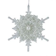 "5"" Seasons of Elegance Silver Glitter Scallop Edged Snowflake Christmas Ornament"