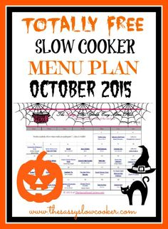 Spend less time in the kitchen by planning your meals. Check out our FREE Slow Cooker Family Friendly Menu Plan for October Crock Pot Food, Crockpot Dishes, Crock Pot Slow Cooker, Crockpot Meals, Slow Cooker Recipes, Cooking Recipes, Monthly Meal Planning, Menu Planning, Some Recipe