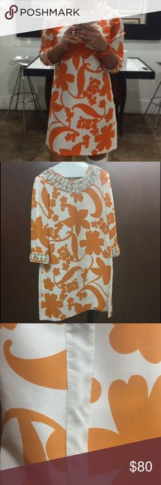 Beautiful TORY BURCH Dress Orange and white patterned dress with beads - TORY BURCH ••• its size 2 but works for 34B Tory Burch Dresses Mini