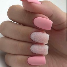 There are three kinds of fake nails which all come from the family of plastics. Acrylic nails are a liquid and powder mix. They are mixed in front of you and then they are brushed onto your nails and shaped. These nails are air dried. Classy Nails, Stylish Nails, Trendy Nails, Simple Nails, Purple Nail, Pink Nail Art, Matte Pink Nails, Pink Glitter Nails, Matte Nail Art