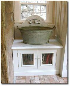 Old Wash Bucket Used As A Laundry Sink- Seen On Katy Elliott Blog