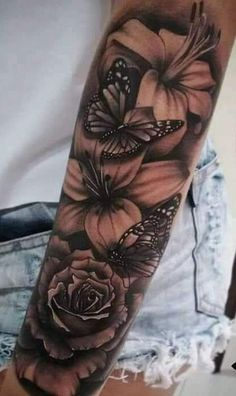 Be wise as you select your arm tattoo designs. Some tattoo designs that can only fit on a single shoulder while some are created for the whole arm. Arm Sleeve Tattoos For Women, Forearm Sleeve Tattoos, Shoulder Tattoos For Women, Best Sleeve Tattoos, Tattoos For Women Small, Small Tattoos, Women Sleeve, Girly Sleeve Tattoo, Butterfly Sleeve Tattoo