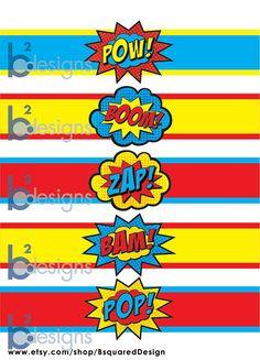Superhero Waterbottle Labels • Pow! Boom! Zap! Pop! Bam! • PC Color • INSTANT…