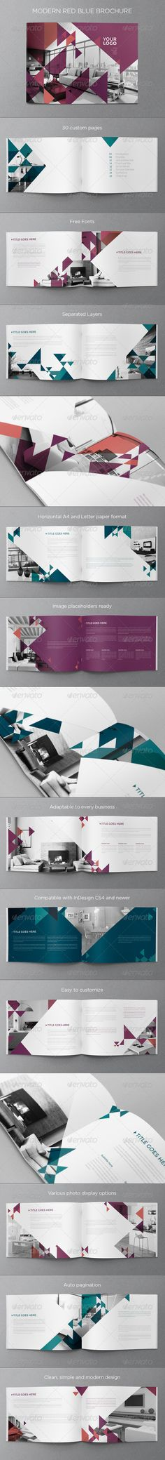 Modern Red Blue Brochure - Print Templates