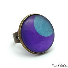 Fashion ring - Blue Moon on Purple - The #jewelry of the day! More info at misscabochon.com