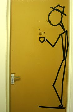 Dorm Room Door Decour | Flickr - Photo Sharing! (Electrical tape!)