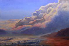 """One Last Cast"" Sunset Painting of Beach Oil on Linen Panel 30"" x 40"""