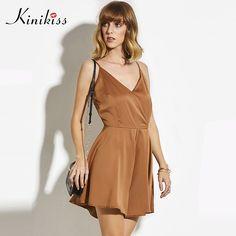 f415b56005 Kinikiss 2017 summer women bodysuit black culottes khaki spaghetti strap  backless zippers rompers fashion sexy solid