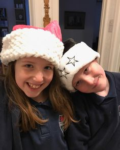 These two cant wait for Christmas and are absolutely hyper. These are their new Christmas hats because they are allowed to wear something festive for the school Christmas lunch. For once I am actually ahead of myself if youll pardon the pun! #welshparentingbloggers #ukbloggers #pbloggers