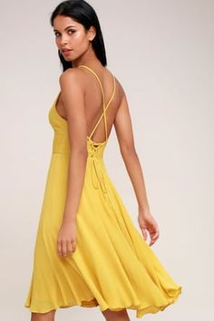 The Troulos Mustard Yellow Lace-Up Midi Dress is sure to make an appearance! Skinny straps cross at back and then weave into a chic lace-up back. Mustard Yellow Dresses, Yellow Midi Dress, Yellow Lace, Pink Dress, Mykonos, Dresses For Teens, Casual Dresses, Floral Dresses, Trendy Dresses