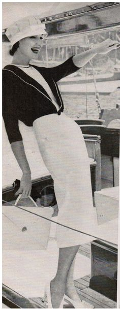 Ladylike nautical inspired resort fashions from 1957. Taken at the St. Thomas Yacht Club. Richard Rutledge photographer. Though the pix are in B&W, the clothing is navy and white, a classic color combination for summer, no matter what decade! The white linen sheath dress by Mr. Mort is topped by a navy blue Heller