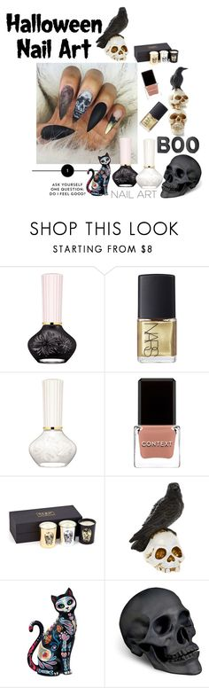 """Skull Night"" by karito-pinup ❤ liked on Polyvore featuring beauty, NARS Cosmetics, Context, L'Objet and Crate and Barrel"