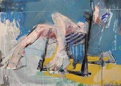 "Saatchi Art Artist christos tsimaris; Painting, ""WOMAN,DECK CHAIR"" #art"