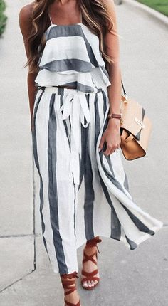 On Second Thought: Ruffle Stripe Cami and Skirt