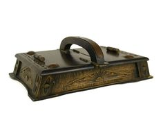 Hand Carved Wood and Copper Sewing Box. French Vintage Wooden Craft Storage Box.