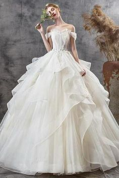 White Wedding Dress Off Shoulder Wedding Dress Lace Tulle Wedding Dress Simple Wedding Dress Tulle Wedding, White Wedding Dresses, Formal Dresses, Off Shoulder Wedding Dress Lace, Lace Evening Dresses, Simple Weddings, Ball Gowns, Store, Color