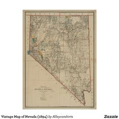 Vintage Map of Nevada (1894) Poster