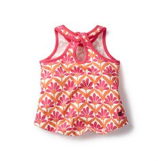 Isai Keyhole Tank | Isai is an Indian girl's name that means music. Playful shades of pink harmoniously complement this floral motif, which was inspired by an umbrella we brought back from our trip.