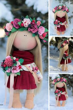Love doll handmade, fabric doll, textile doll, rag doll, baby doll, soft doll