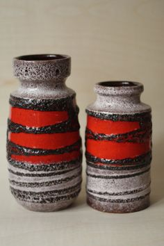 Fat Lava Set Of Two West German Pottery Vases