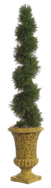 """Artificial Cedar Spiral Topiary for special events and venues.    Commercial quality plant like features Center metal pole for durability Stabilizing weight base included (6.5"""" x 7.5"""") Plant stands 4ft tall Plant width 9.5"""" Plant tip count 1,130 Decorative pot sold separately"""