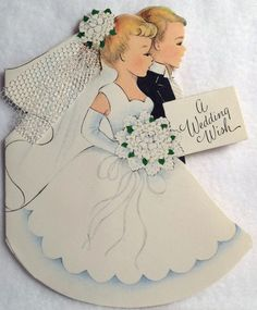 Vintage 1940s Best Wishes Wedding Card Congratulations