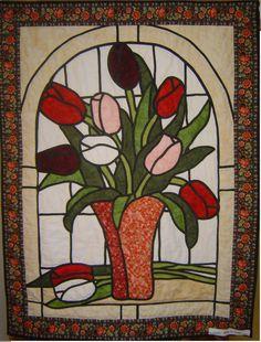 glas in lood tulpen quiltkelder Putten