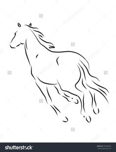 Silhouette Of Galloping Horse Stock Vector Illustration 456980962 : Shutterstock