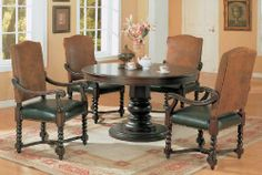 Coaster 180030-Din-Set Riverside Round Dining Collection by Coaster Home Furnishings. $1515.00. Riverside Round Dining Collection by Coaster 180030-Din-Set. A great addition to your dining room, with detailed styling the table and chairs will be sure to stand out. The table features a single pedestal base, and the seats are wrapped in a durable leather like vinyl along with a micro fiber back. Please refer to the Specifications to determine what items are included since sometime...