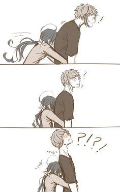 Anime Couples Hugging, Anime Couples Manga, Cute Anime Couples, Anime Guys, Manga Anime, Anime Couples Cuddling, Anime Couples Sleeping, Cute Couple Comics, Cute Comics