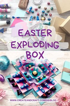 DIY Easter Exploding Boxes - Perfect for Wrapping Easter Chocolate!You can find Exploding boxes and more on our website.DIY Easter Exploding Boxes - Perfect for Wrapping East. Candy Gift Box, Diy Gift Box, Diy Gifts, Diy Birthday, Birthday Gifts, Explosion Box Tutorial, Exploding Gift Box, Sweet Box, Easter Projects