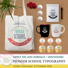 Pioneer School Typographic Badge Design 01 by ArtsyPaperieShoppe