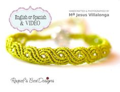 TUTORIAL w/VIDEO.- Exotic Twisted Path Micro Macrame Bracelet by RaquelsBeaDesigns